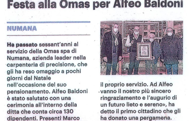 In pensione dopo 60 anni di lavoro – Festa Omas per Alfeo Baldoni
